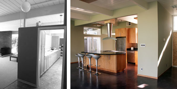 kitchen before after1 John Klopf: Respectfully Renovating Eichler Homes